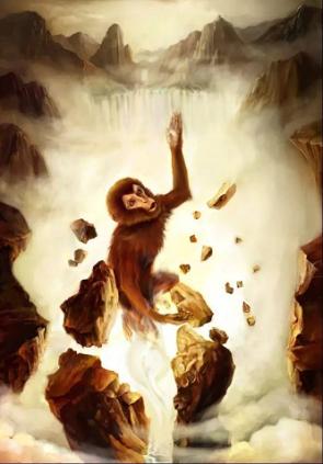 Monkey's stone birth, by Zhang Moyi - small