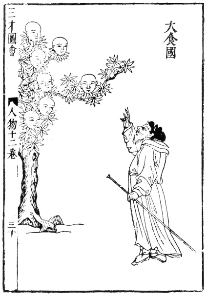 Ginseng tree - From Sancai tuhui (1609), based on image of Iskander (Alexander the Great) talking to the Talking Tree from the Shamanah