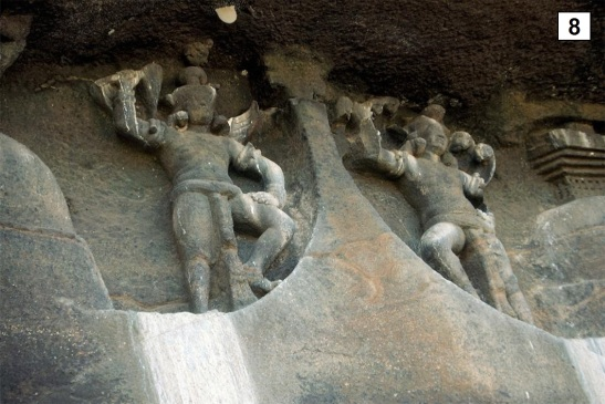 Garuda and Nagaraja above the arch of the Chaitya hall (#40) at Maharashtra, stone, 2nd-3rd c