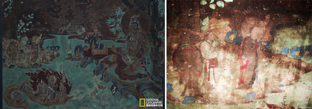 Eastern Thousand Buddha Cave no. 2, 11th-c. - Xuanzang and the Monkey Pilgrim praying to Guanyin - small