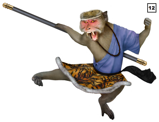 Monkey kicking - small with number