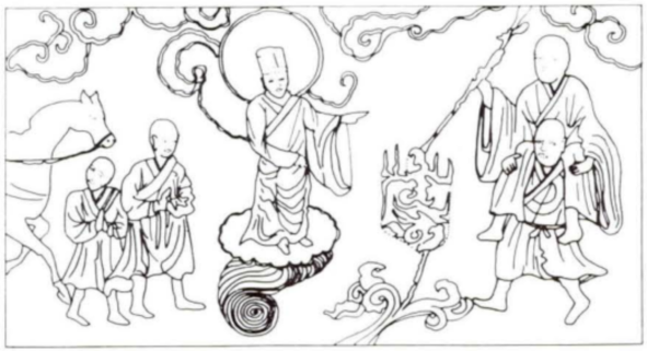 Korean Pagoda scene with Red Boy - Line drawing