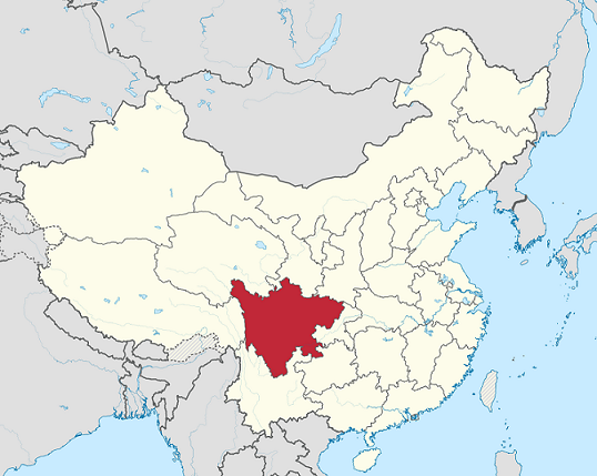 Map of China showing location of Sichuan Province, home to Qiang ethnic group, some of whom worship Sun Wukong