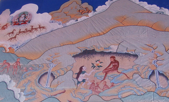Tibetan origin myth painting - Monkey and Ogress - small