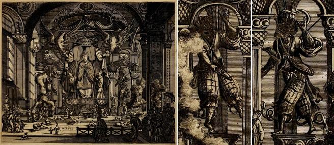 Mazu temple with detials of generals, from Gedenkwaerdig bedryf der Nederlandsche Oost-Indische Maetschappye (1670) - small